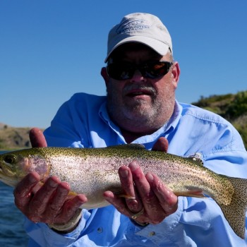 Jim with a Rainbow Trout.