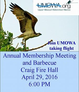 Upper Missouri Watershed Alliance Annual Meeting April 29th 6pm