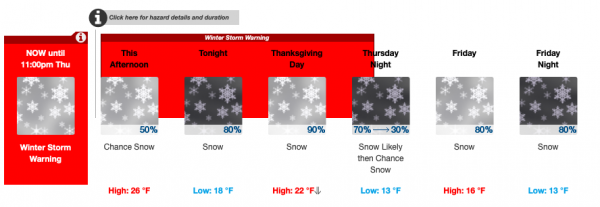 Snow, Holiday Schedule, and Thanksgiving