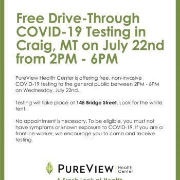 July 22nd 2-6pm Drive Thru COVID-19 Testing in Craig MT