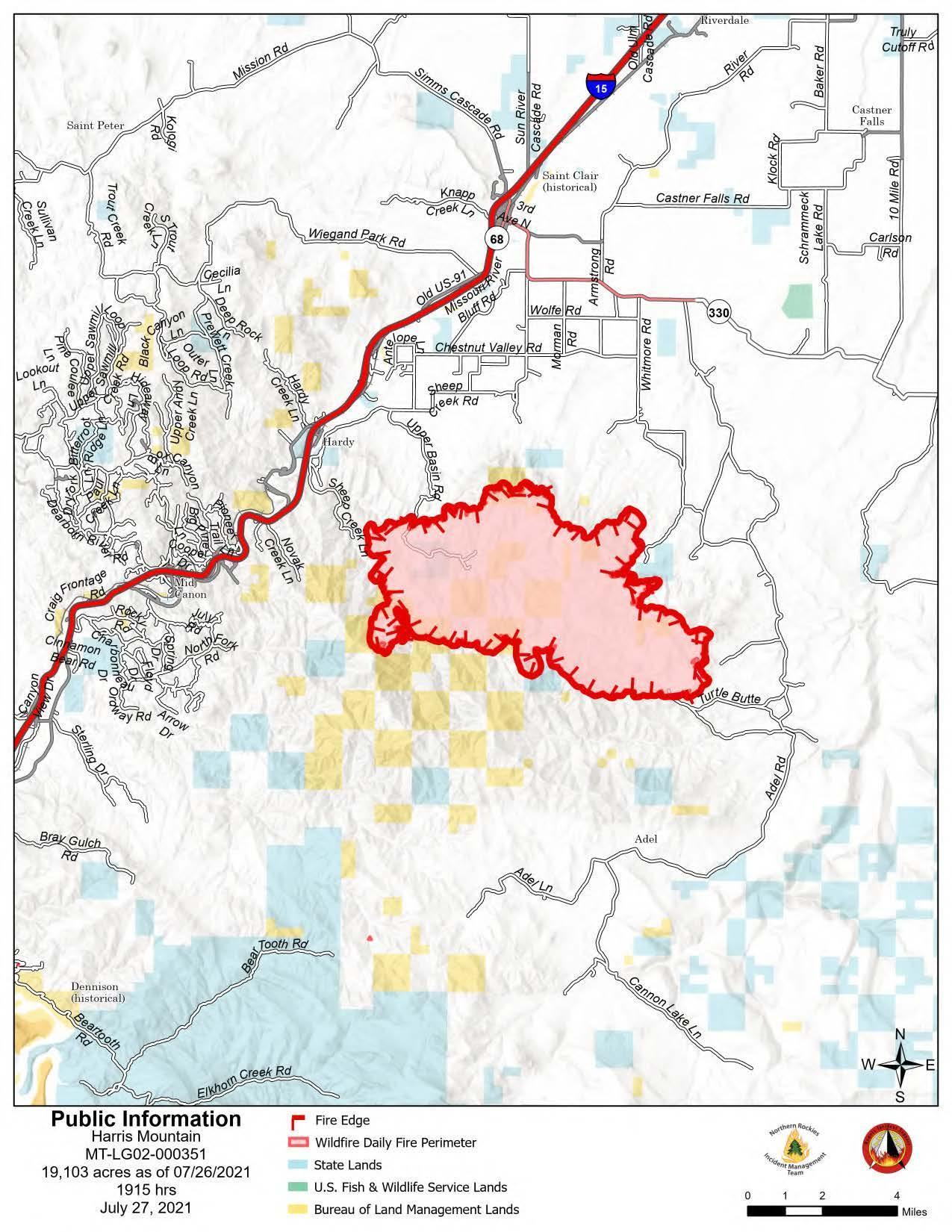 Harris Mountain Fire 7.27.21 Update